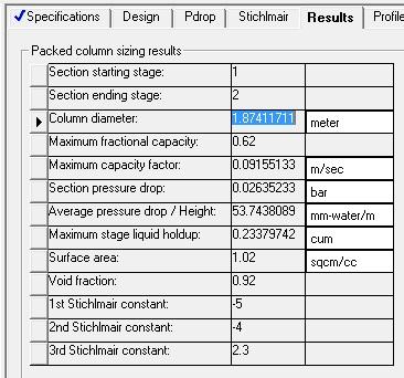 نتایج طراحی و شبیه سازی برج جذب aspen plus
